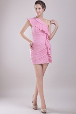 One Shoulder Pink Prom Dress Column Mini-length