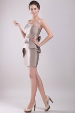 Bowknot Prom Dresses Grey Strapless Column Mini-length