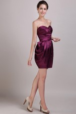 Prom Cocktail Dress Burgundy Sweetheart Column Ruch