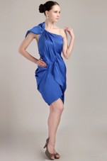 One Shoulder Blue Mini-length Ruche Prom Cocktail Dresses