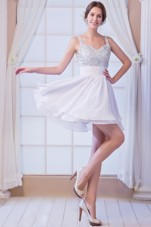 White Prom Holiday Dresses With Straps Beading