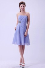Strapless Lilac Chiffon Knee-length Bridemaid Dress