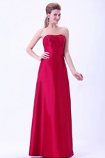 Simple Wine Red Floor-length Taffeta Bridemaid Dress