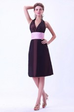 Halter Pink Belt Knee-length Taffeta Dama Dress