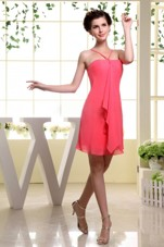 Coral Red Mini-length Dama Dress With Straps