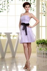 Lilac Spaghetti Straps and Sash For Short Dama Dress
