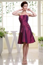 Burgundy Dama Dress With Ruche Knee-length and Taffeta