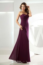 Beading One Shoulder Dark Purple Dama Dress Column