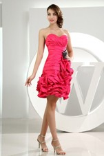 Hot Pink Ruffles Sweetheart Taffeta Mini-length Dama Dress