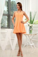 A-Line Halter Chiffon Mini-length Dama Dress Orange