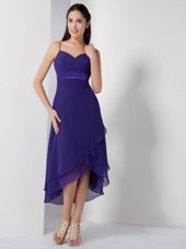 Purple Spaghetti Straps High-low Dama Dresses Chiffon