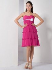Hot Pink Empire Chiffon Flower Dama Dresses Sweetheart Knee-length