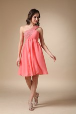 Watermelon Red Dama Dresses One Shoulder Knee-length