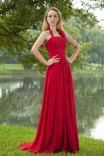 Halter Empire Red Chiffon Bridesmaid Dresses with Brush Train