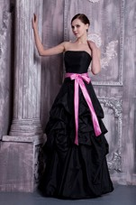 Black Floor-length Bridesmaid Dresses with Sash and Pick-ups