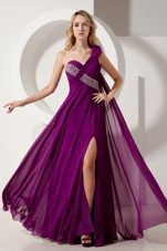 Empire One Shoulder Dark Purple Beading Prom Dress