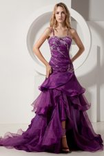 A-line Straps Dark Purple Ruffles Prom Dress Beading