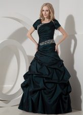 Modest A-line Scoop Taffeta Beading Prom Dress