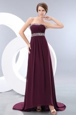 Burgundy Empire Strapless Beading Prom Dress With Train