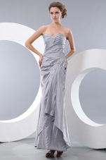 Gray Sweetheart Ankle-length Ruche Beading Homecoming Dress