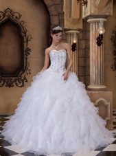 Designer Quinceanera Dress White Organza Beading Ruffles