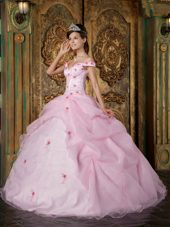Off The Shoulder Designer Pink Organza Quinceanera Dress Flowers