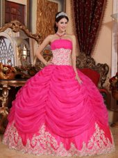 Strapless Designer Hot Pink Organza Beading Quinceanera Dress Lace