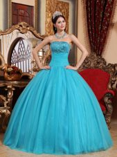 Sequince Quinceanera Dress Designer Aqua Blue Strapless