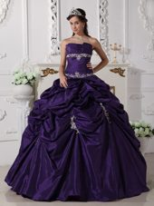 Designer Purple Strapless Pick-ups Appliques Quinceanera Dress