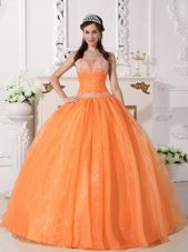 Orange Quinceanera Dress Designer Strapless Appliques
