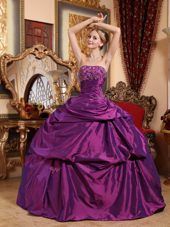 Designer Eggplant Purple Strapless Beading Quinceanera Dress