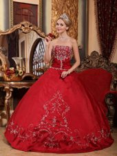 Strapless Embroidery Quinceanera Dress Designer Wine Red