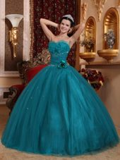 Sweetheart Tulle Beading Dark Green Quinceanera Dress
