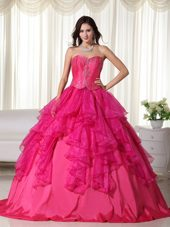 Sweetheart Organza Embroidery Quinceanera Dress Hot Pink