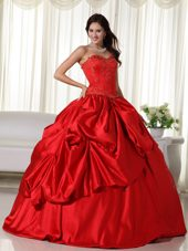 Red Sweetheart Embroidery Quinceanera Dress