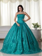 Turquoise Strapless Organza Beading Quinceanera Dress