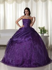 Strapless Tulle Beading Purple Quinceanera Dress