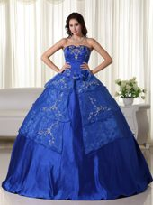 Royal Strapless Organza Embroidery Quinceanera Dress