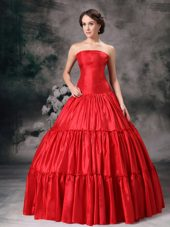 Red Strapless Taffeta Ruch Evening Dress