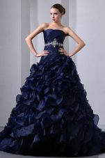 A-Line Strapless Brush Train Beading Quinceanea Dress Navy Blue
