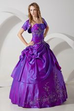 Purple Strapless Taffeta Embroidery Quinceanera Dress