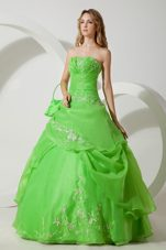 Green Embroidery with Beading Quinceanera Dress Strapless