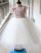 White and Lilac A-line Tulle Scoop Cap Sleeves Beading Ankle Length Zipper Toddler Flower Girl Dress