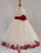 Nice Scoop White Sleeveless Tulle Zipper Toddler Flower Girl Dress for Party and Wedding Party