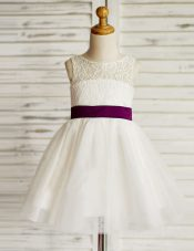 White Zipper Scoop Lace and Bowknot Flower Girl Dresses Tulle Sleeveless