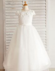 Top Selling Scoop Short Sleeves Tulle Floor Length Zipper Flower Girl Dresses for Less in White with Beading and Appliques