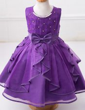 Eggplant Purple A-line Organza Scoop Sleeveless Beading and Ruffles and Bowknot Floor Length Zipper Flower Girl Dresses for Less