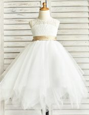 Luxury White Scoop Neckline Lace and Ruffled Layers and Sashes ribbons Toddler Flower Girl Dress Sleeveless Zipper