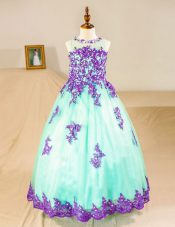 Low Price Scoop Floor Length Zipper Flower Girl Dresses Turquoise for Party and Wedding Party with Beading and Lace and Appliques