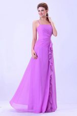 Lavender Bridesmaid Dress with Spaghetti Straps and Ruffles